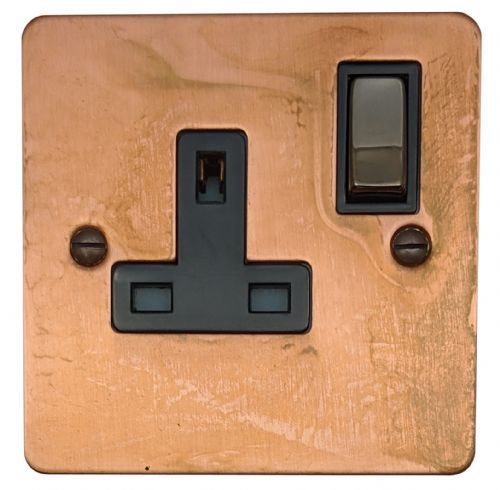 G&H FTC309 Flat Plate Tarnished Copper 1 Gang Single 13A Switched Plug Socket